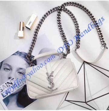 Saint Laurent Classic Baby College Monogram Chain Bag in White Matelasse Leather