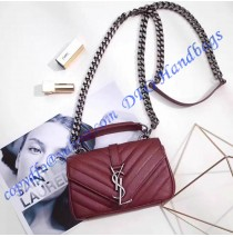 Saint Laurent Classic Baby Monogram Chain Bag in Wine Red Matelasse Leather