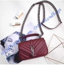 Saint Laurent Classic Baby College Monogram Chain Bag in Wine Red Matelasse Leather
