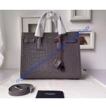 Saint Laurent Classic Small SAC DE JOUR Bag in Gray Crocodile Embossed Leather