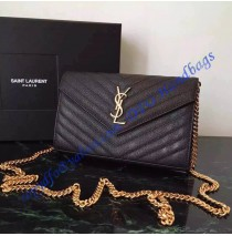 Monogram Saint Laurent Chain Wallet in Black Grain de Poudre Textured Matelasse Leather with Gold-toned Hardware