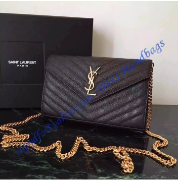 ysl cabas chyc leather tote - monogram saint laurent chain wallet in black grain de poudre ...