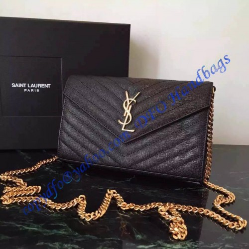 Monogram Saint Laurent Chain Wallet In Black Grain De