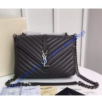 Saint Laurent Classic Medium College Monogram Bag in Dark Gray Malelasse Leather