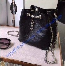 Saint Laurent Classic Baby Emmanuelle Chain Bucket Bag in Black Crocodile Embossed Leather