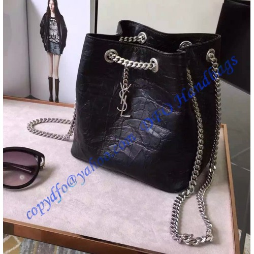 Saint Lau Classic Baby Emmanuelle Chain Bucket Bag In Black Crocodile Embossed Leather