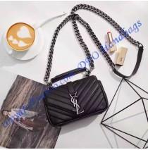 Saint Laurent Classic Baby College Monogram Chain Bag in Black Matelasse Leather