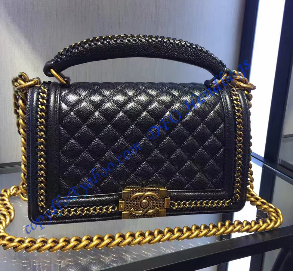 Boy Chanel Flapbag With Handle In Black Calfskin And