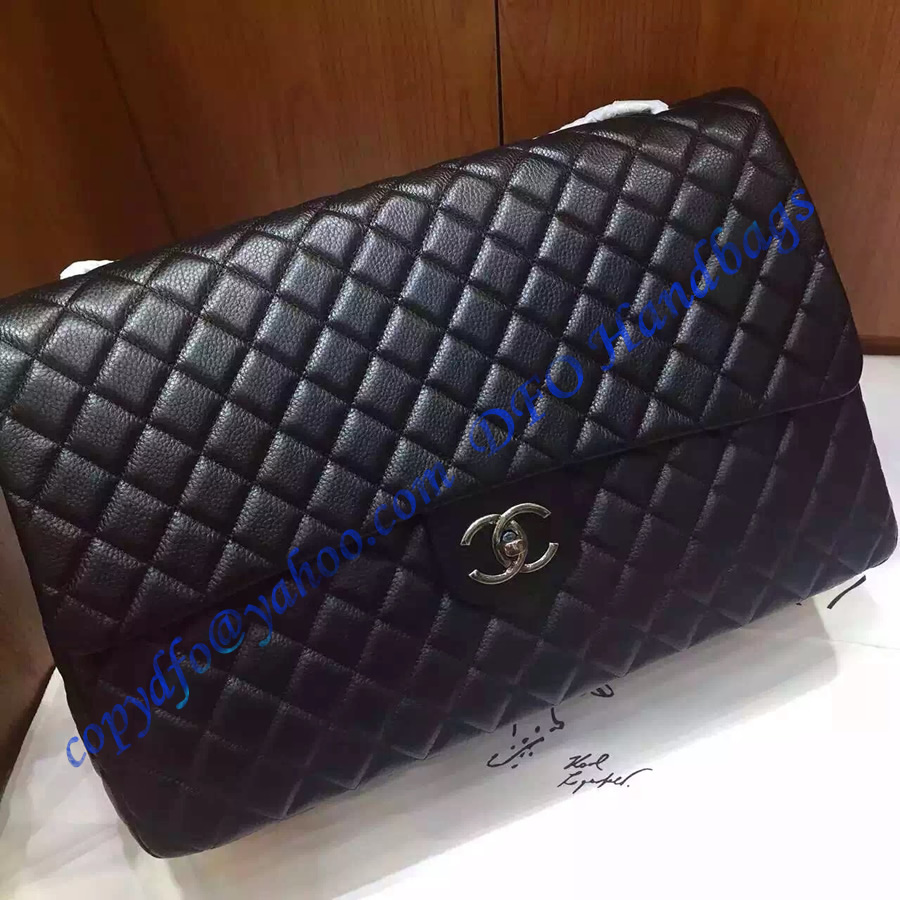 Chanel Xxl Classic Flap Bag In Black Leather Luxtime Dfo