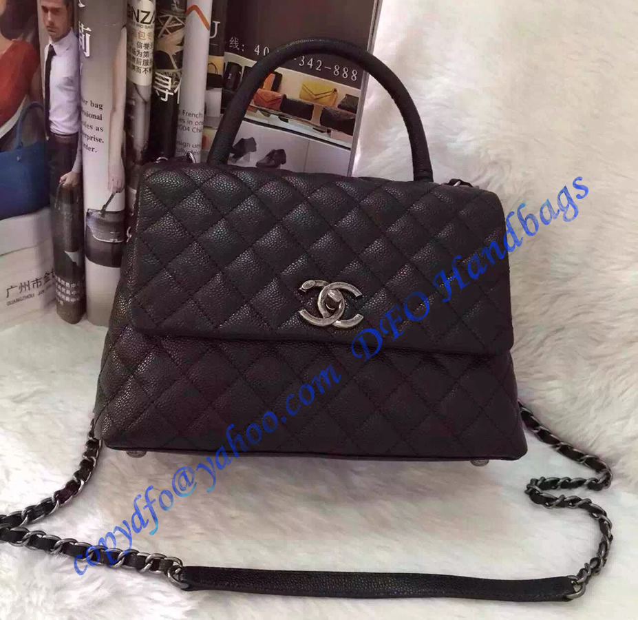 Chanel Small Coco Handle Bag In Black Grained Calfskin