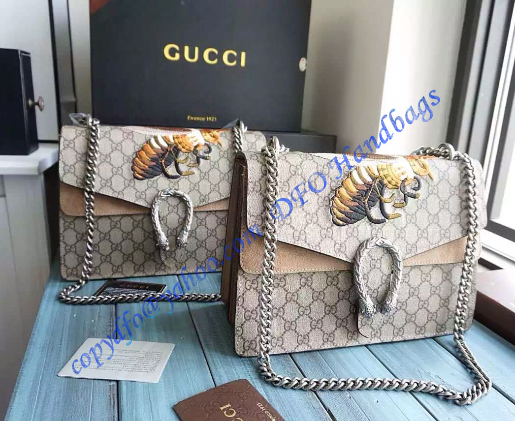 2bf6d9b6180 Gucci Dionysus GG Supreme Large Shoulder Bag with Bee Embroidery and Taupe  Suede Detail – LuxTime DFO Handbags