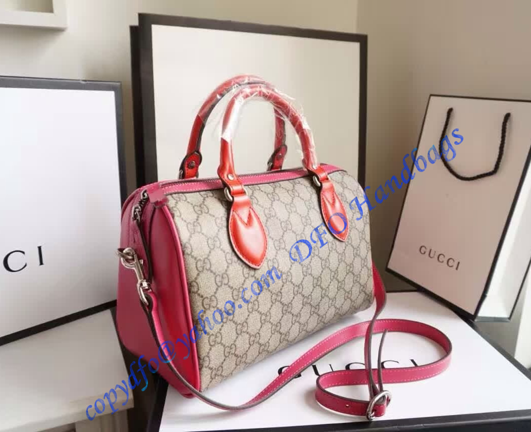 185b8e2965a Gucci GG Supreme top handle bag with red and pink leather detail – LuxTime  DFO Handbags