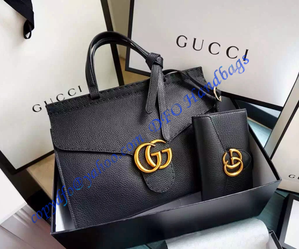 7b060f0d37b9ab Gucci Small GG Marmont Leather Top Handle GU421890-black – LuxTime DFO  Handbags