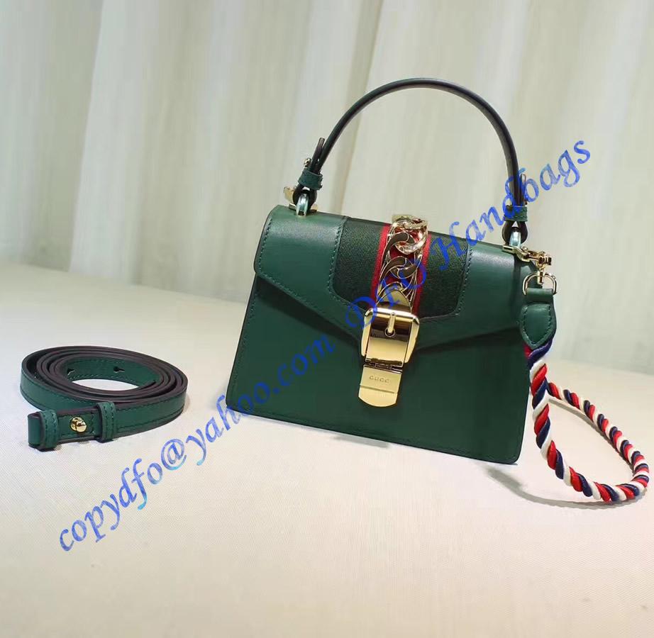 Gucci Sylvie Green Leather Mini Bag