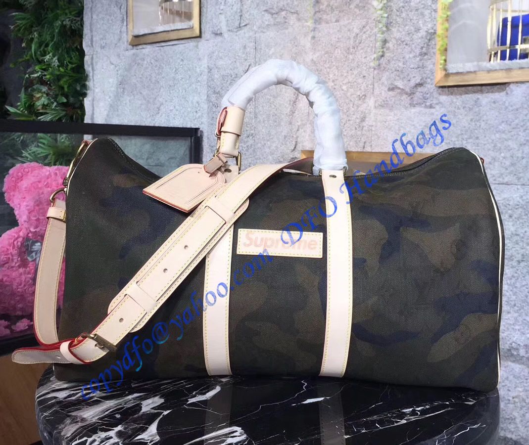 Louis Vuitton X Supreme Monogram Camo Keepall 45