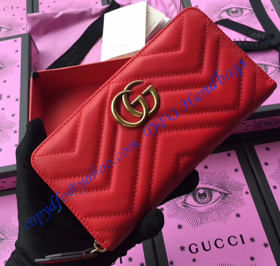 9e43bddd222 Gucci GG Marmont zip around wallet in Red leather with a chevron ...