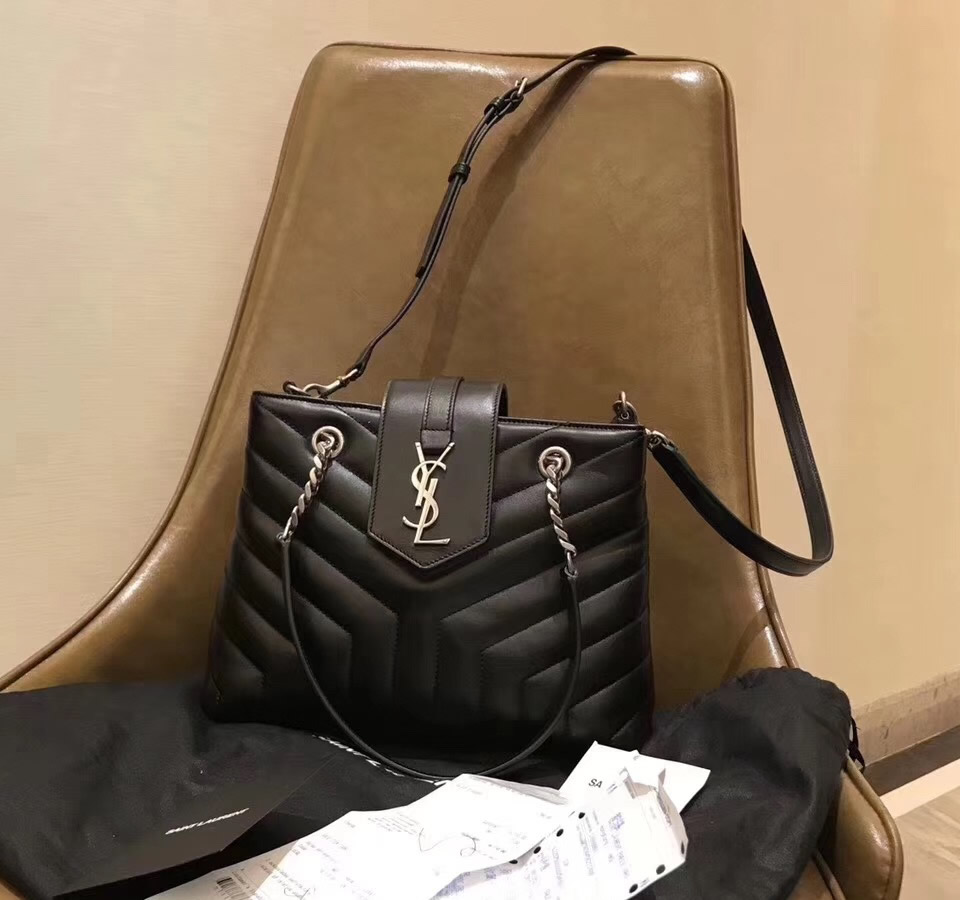 """1ae205aabc Saint Laurent Small LOULOU Shopping Bag in black """"Y"""" quilted leather"""
