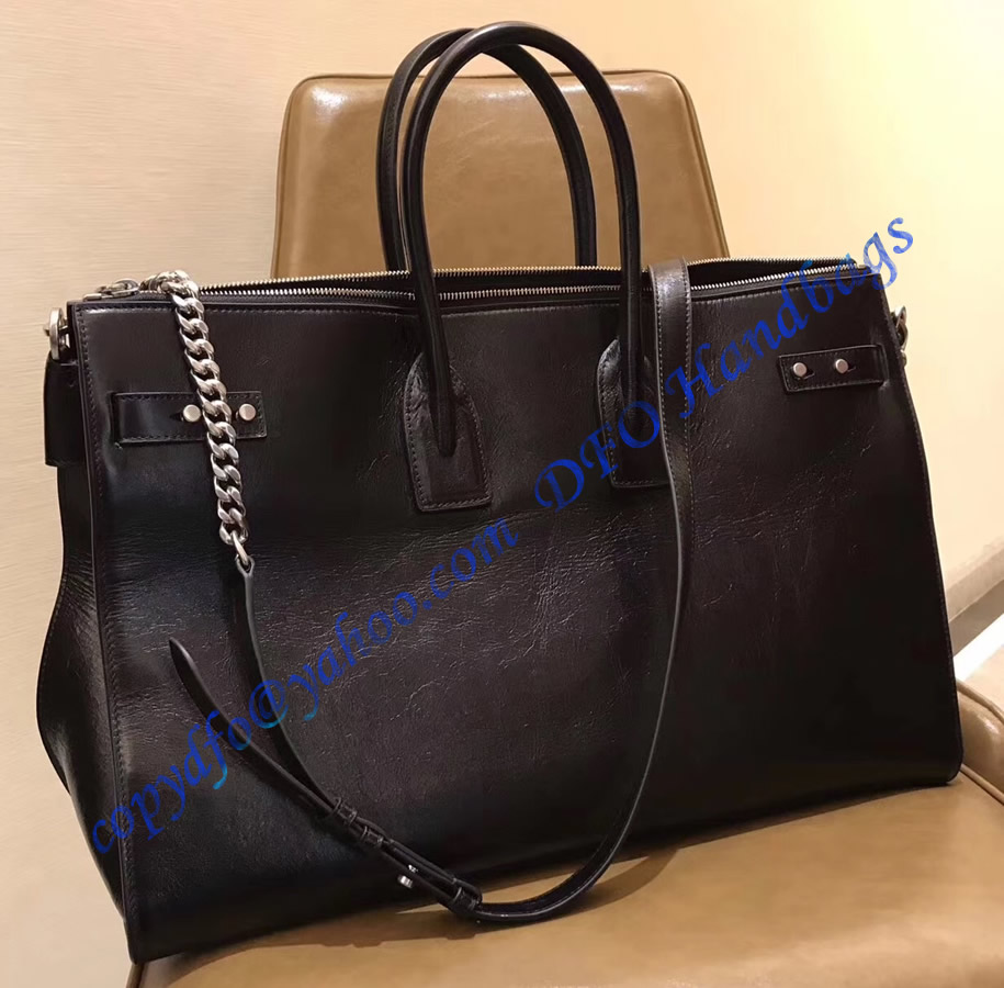 Ysl Sac De Jour Souple 36h Duffle Bag In Black Moroder Leather