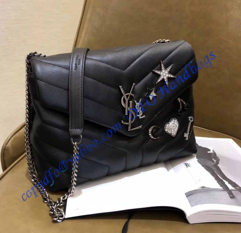 Ysl Small Loulou Chain Bag In Black Y Matelasse Leather