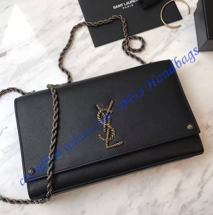 a3420c45b7df YSL Kate Monogram Crossbody Bag Black with braided metal logo ...