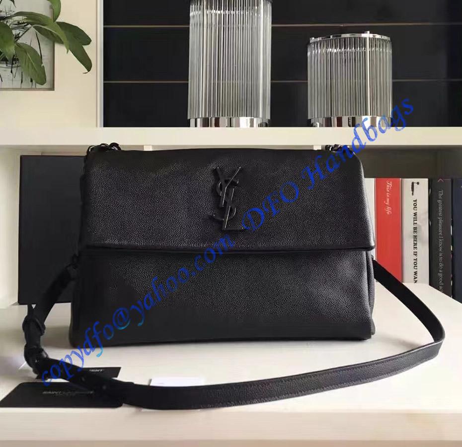 631ce948b1 Saint Laurent Medium West Hollywood Shoulder Bag in Black Grain de Poudre  Textured Leather